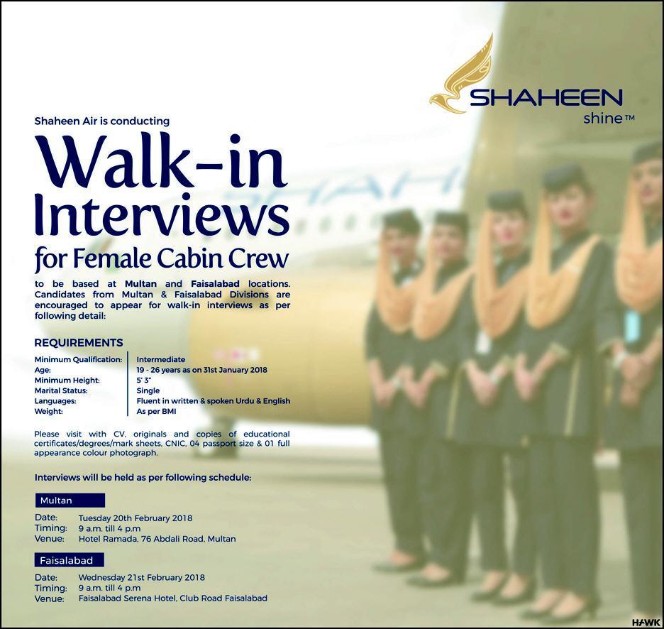 Shaheen Airline Female Cabin Crew Jobs 2018