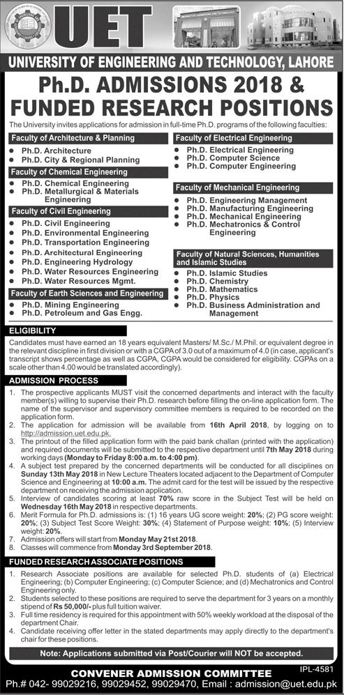 UET Lahore PhD Admissions 2018
