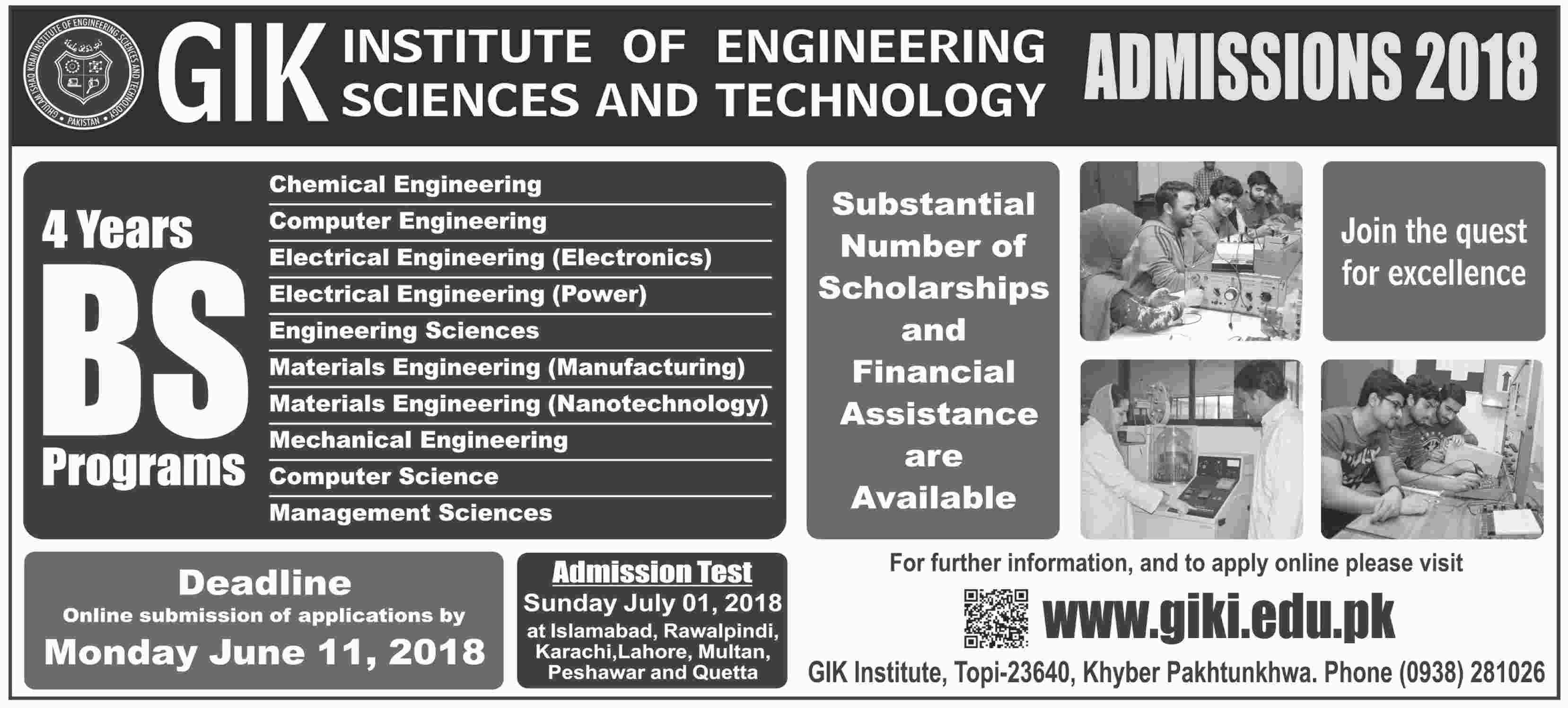 GIKI Undergraduate Admissions 2018