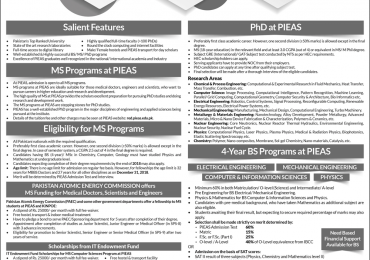 PIEAS PhD Admission 2018 Download Form Advertisement Entry Test Date