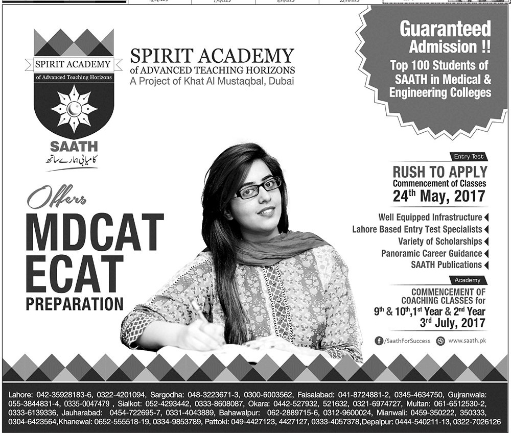 Spirit Academy MCAT, ECAT Entry Test Preparation 2017 Fee, Notes