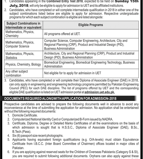 UET Entry Test 2019 Lahore and Taxila