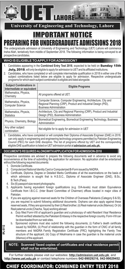 UET Lahore Combined Entry Test Notice for Undergraduate Admissions 2018