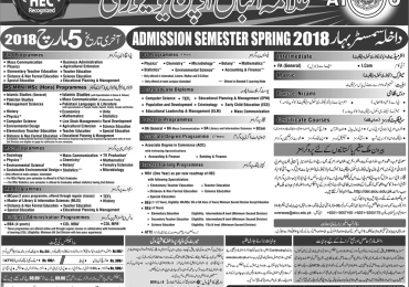 AIOU Admission Schedule 2018 Spring, Autumn FA, BA, Bed, Med, MA