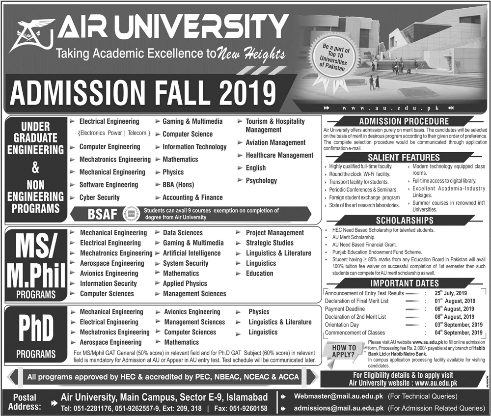 Air University Islamabad Fall Admission 2019 Form Last Date