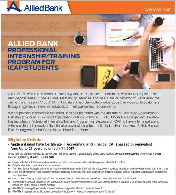 Allied Bank ICAP Students Internship Training Program 2017 Apply Online Form Date