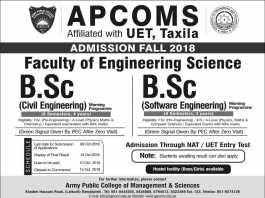 Army Public College APCOMS Admissions Fall 2018 Engineering Form Date