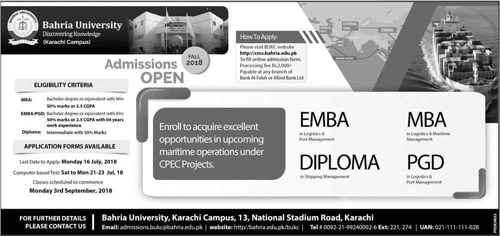 Bahria University Karachi MBA Admission 2018 MBA Entry Test Result