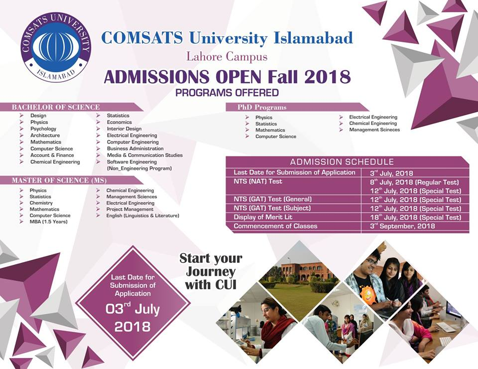 COMSATS Lahore Fall Admission 2018
