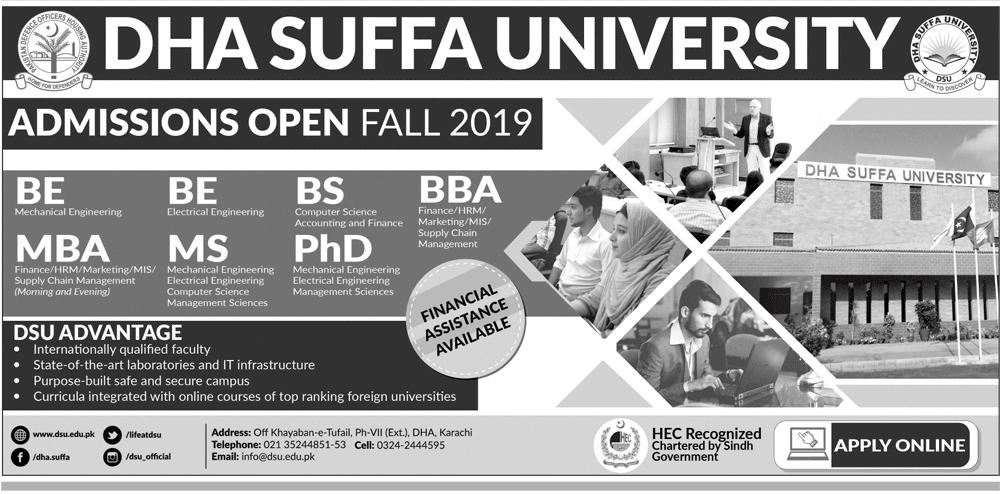 DHA Suffa University Fall Admission 2019 Online