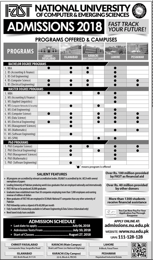FAST University Lahore Campus Admissions 2018 Form Last Date