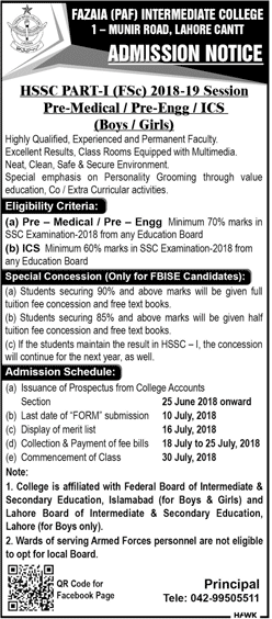 Fazaia PAF Inter College Lahore Admission 2018