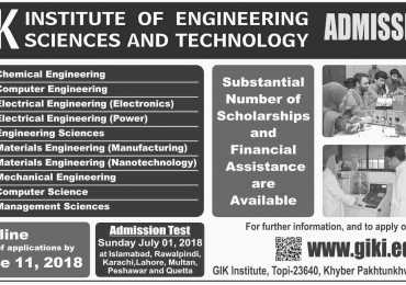 Ghulam Ishaq Khan Institute of Technology GIKI Admissions 2018