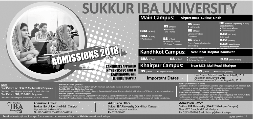 IBA Sukkur BBA, BS, MBA and BE Admission 2018