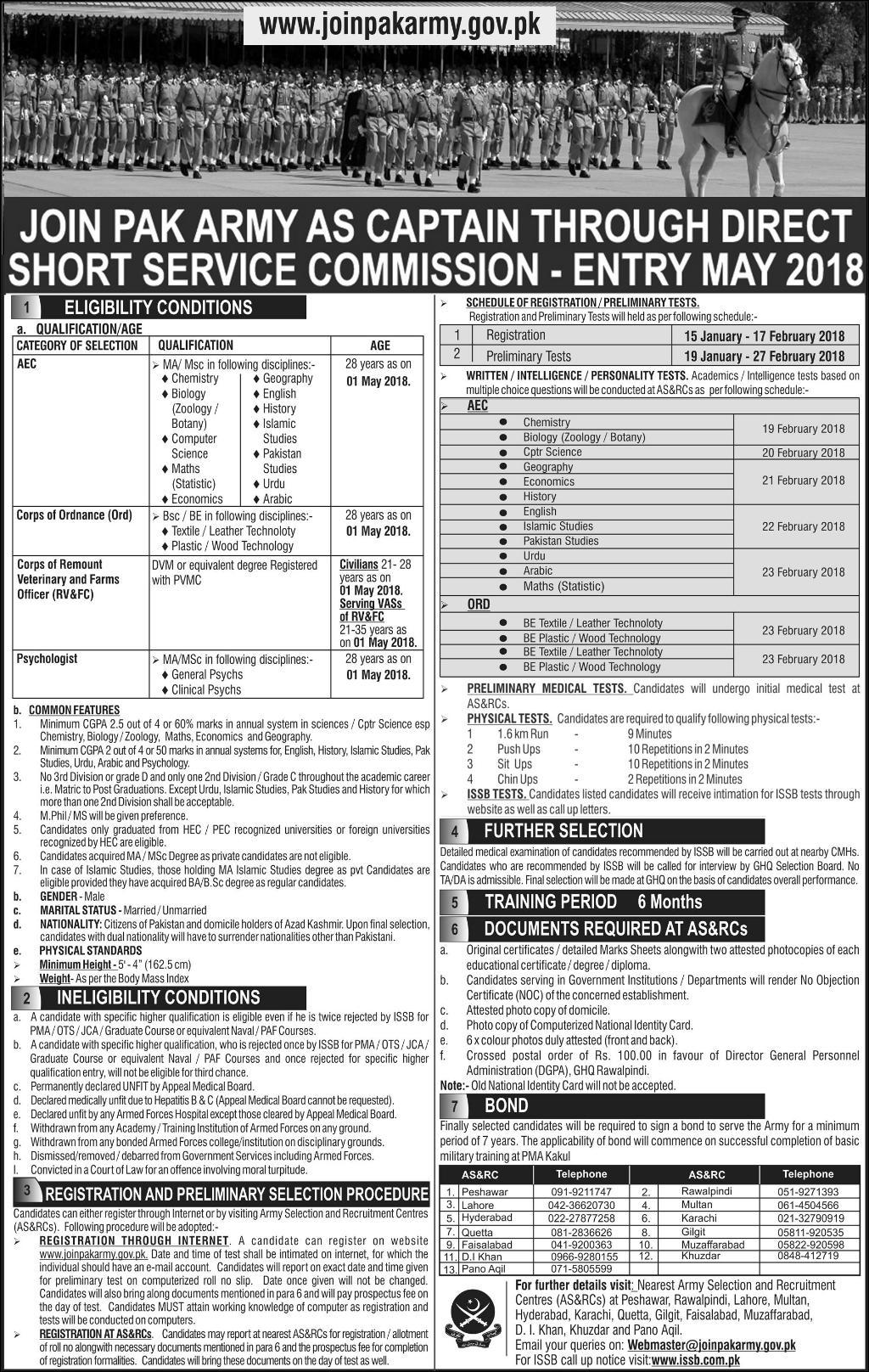Join Pak Army As Captain 2018 Through Direct Commission DSSC Registration