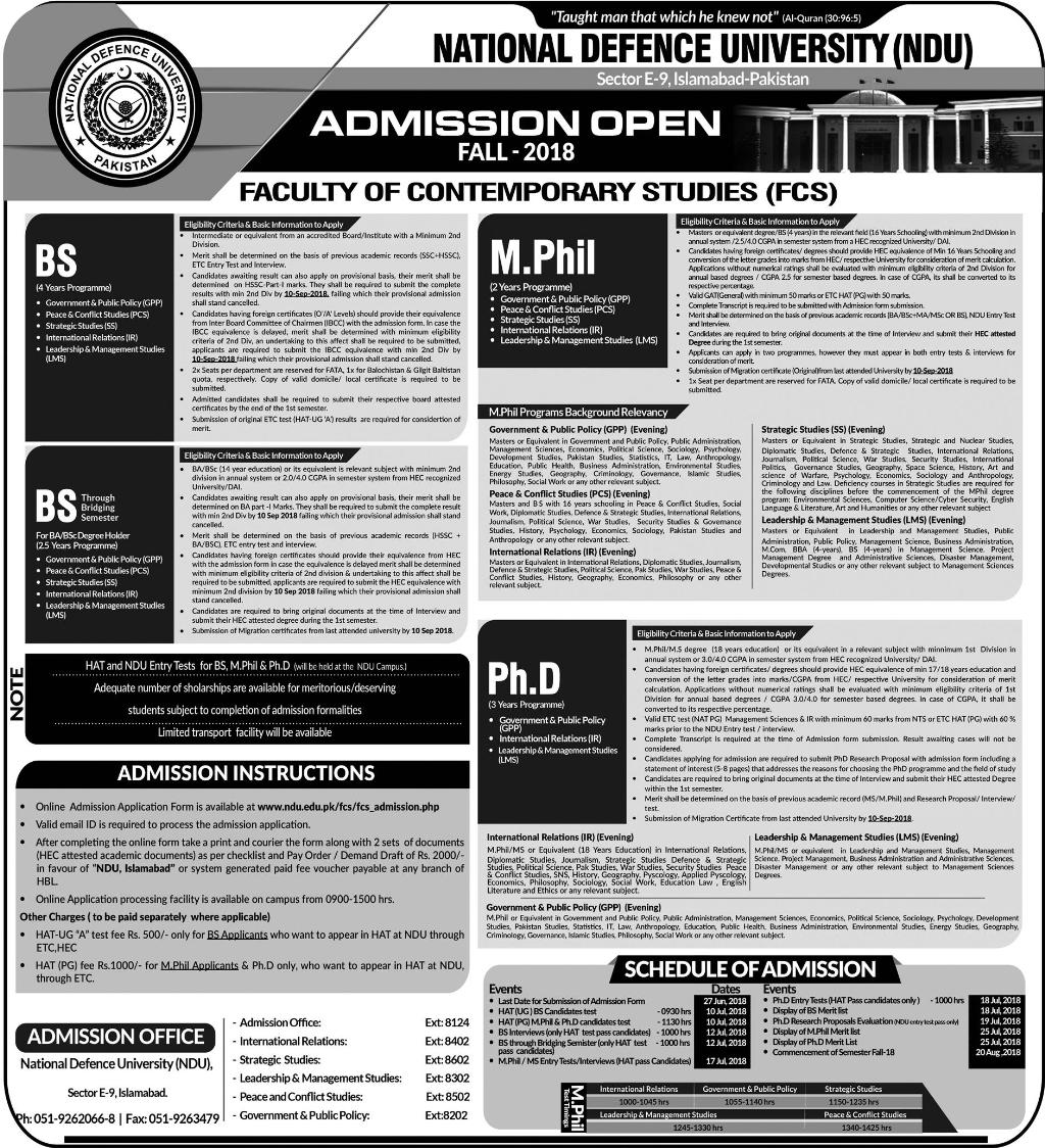 National Defence University Islamabad Fall Admissions 2018 Form