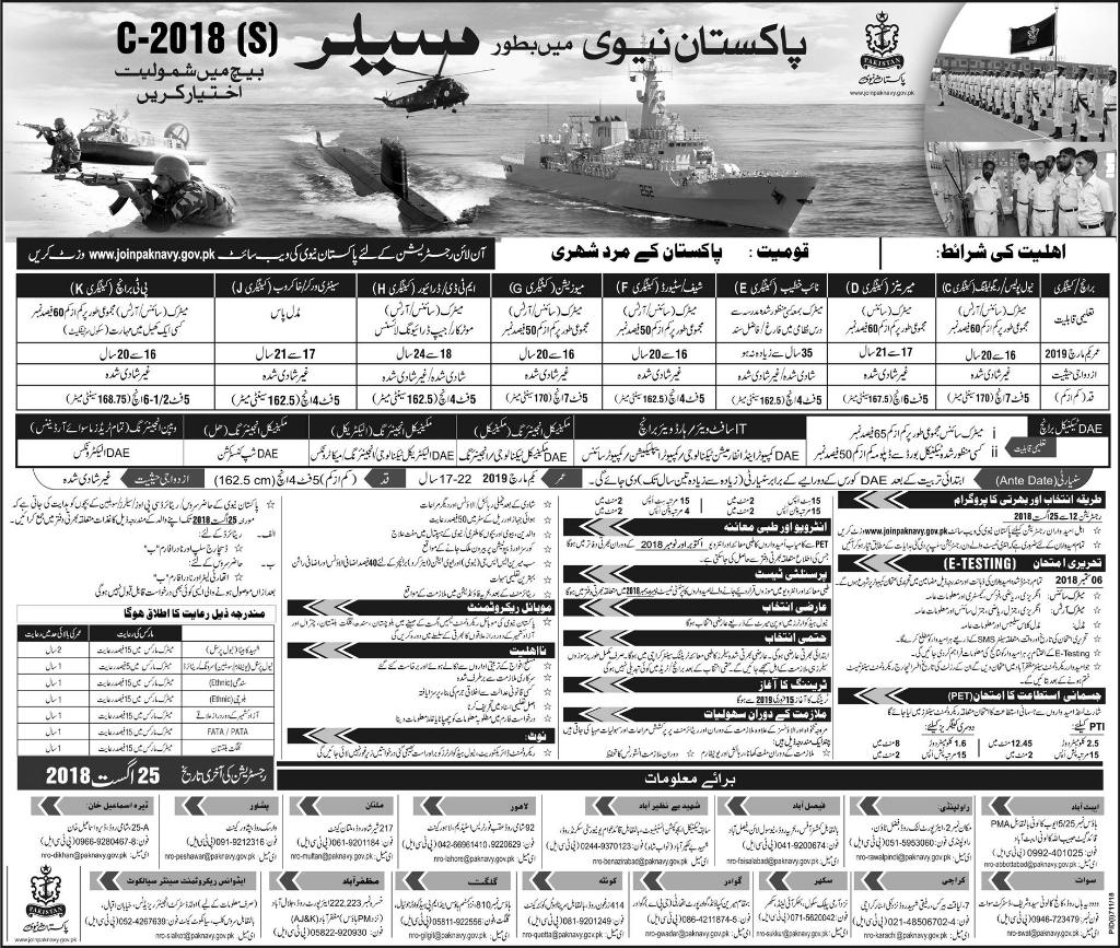 Pakistan Navy Sailor Jobs 2018 Registration Form Advertisement