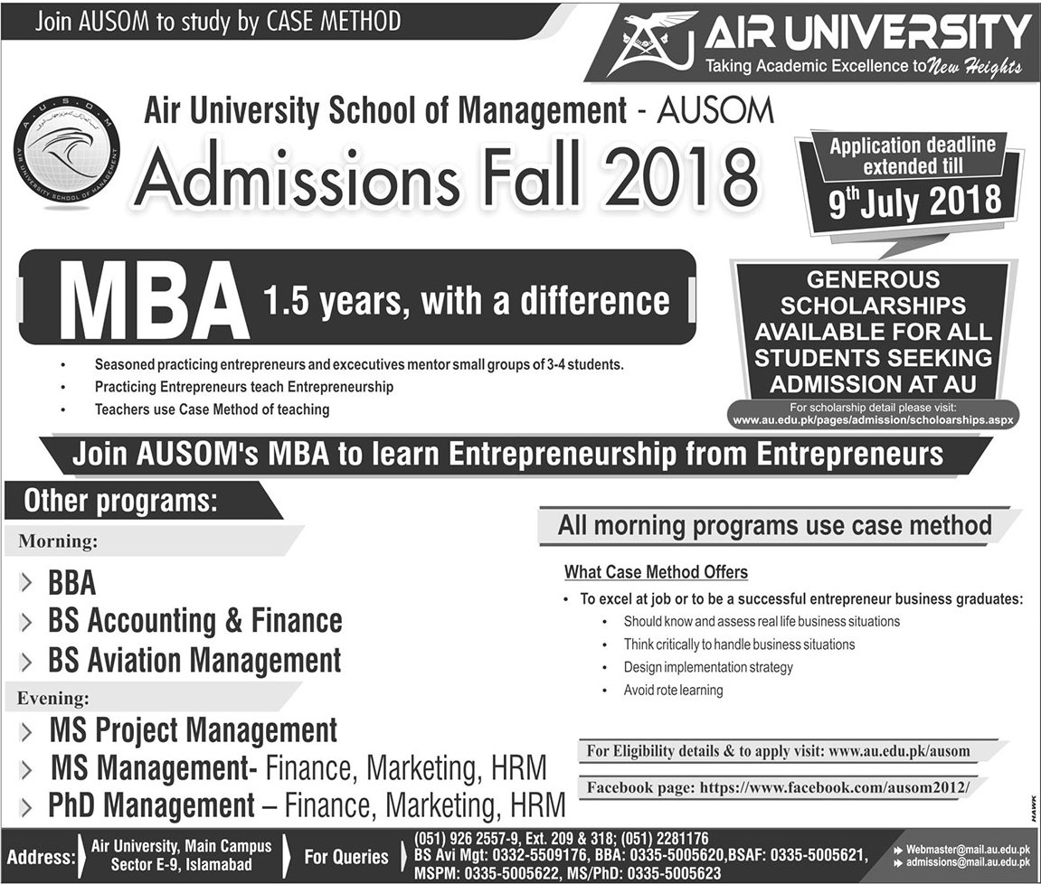 Air University School of Management Admissions 2018 Apply Online Form