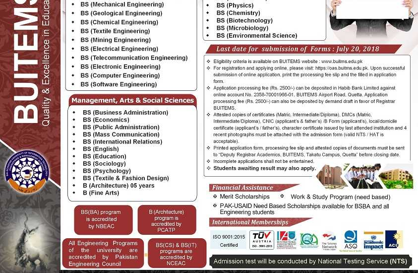 BUITEMS Admission Fall 2018 Engineering, Management Science Admission Form