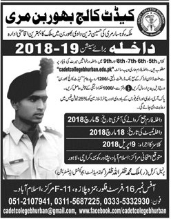 Cadet College Bhurban Admission 2018 Form, Entry Test Result