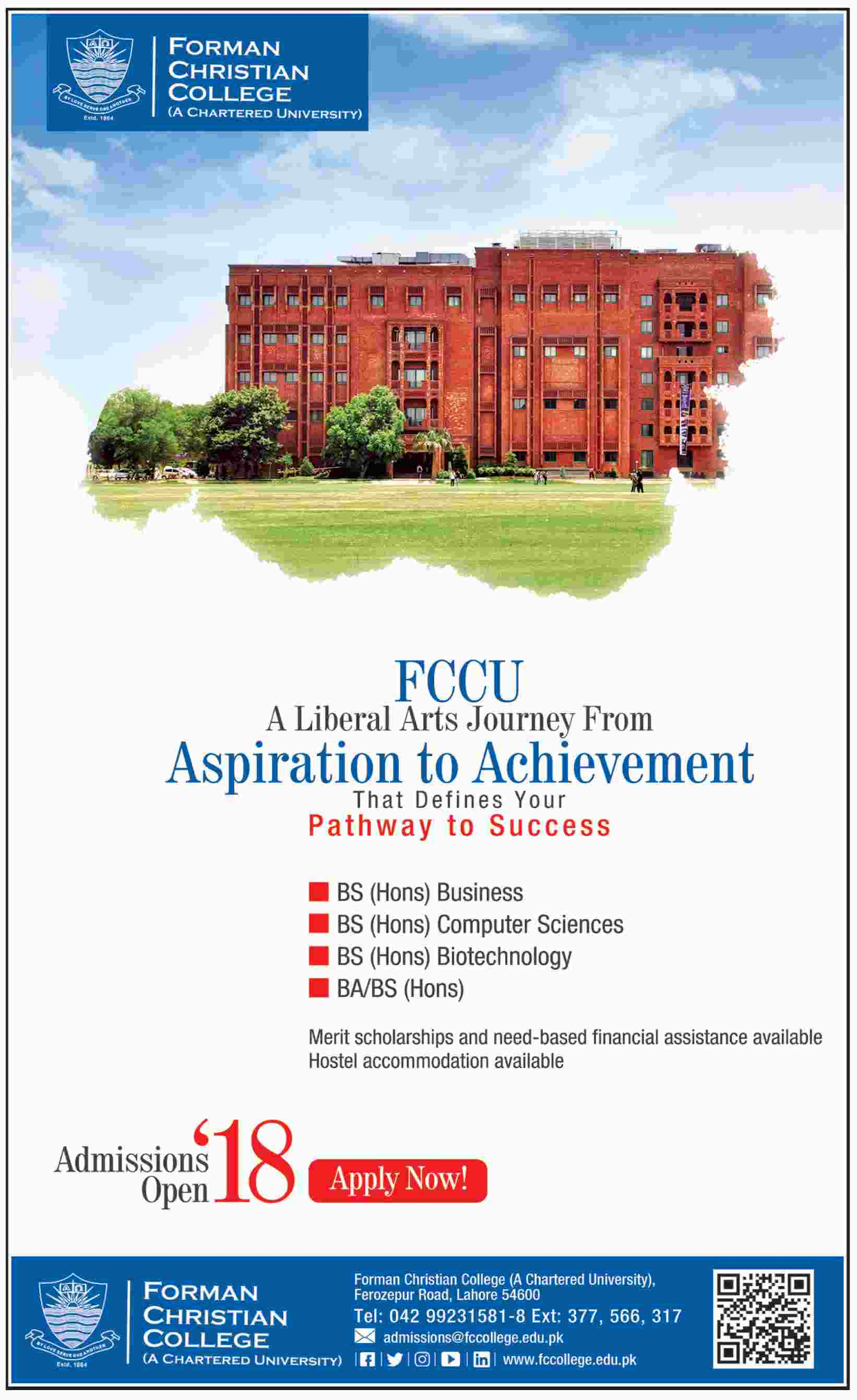 Forman Christian FC College Lahore BA, BS Admission 2018 Form Date