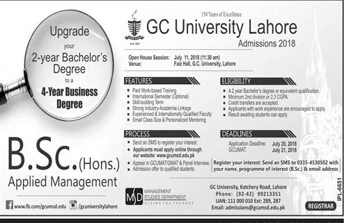 GC University Lahore BSc Admission 2018 Merit List