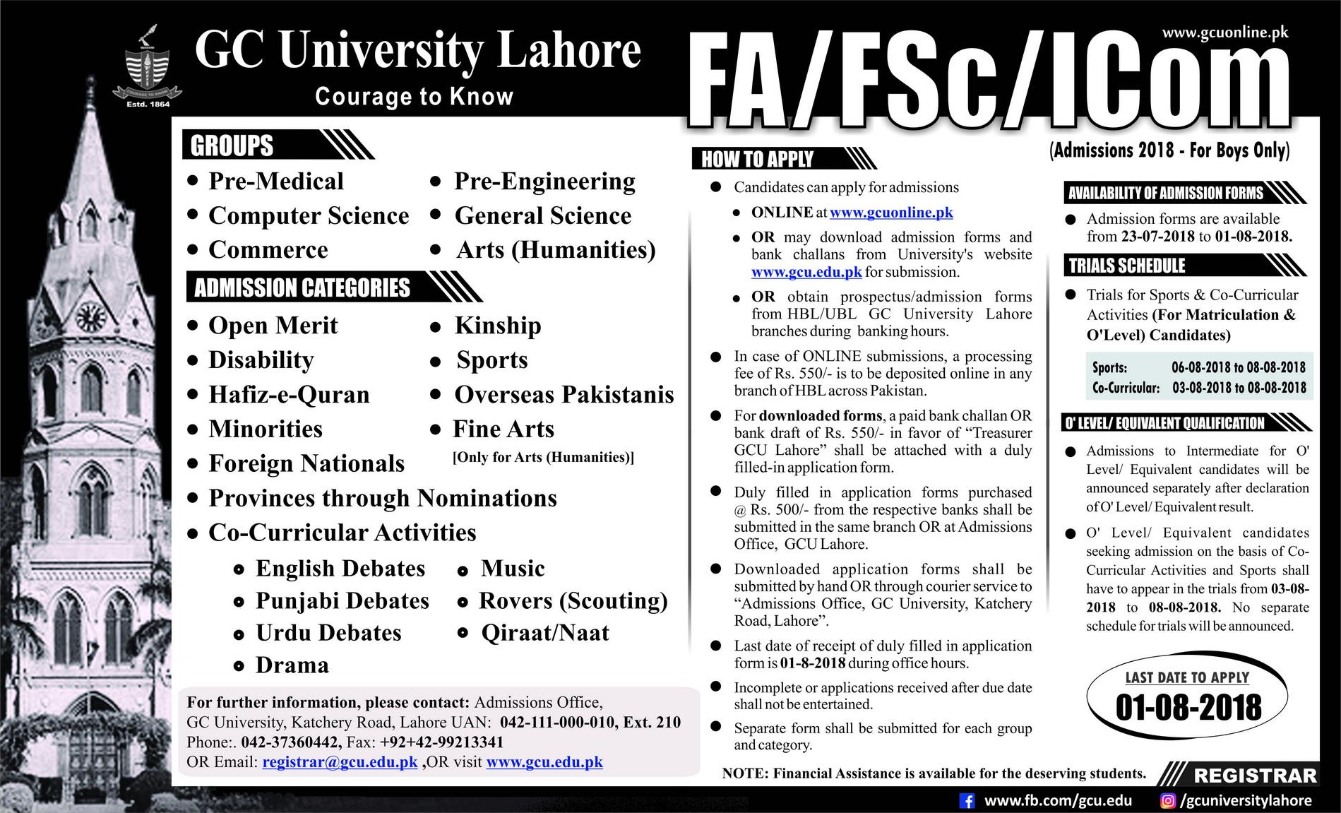 Government College GC University Lahore FSC Admissions 2018