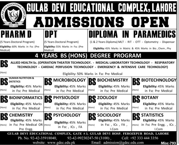 Gulab Devi Institute Of Physiotherapy DPT Admission 2018 Form