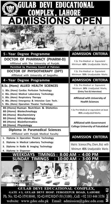 Gulab Devi Medical Institute BSc Admission 2017 Form