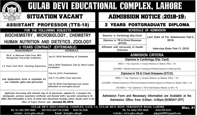 Gulab Devi Postgraduate Medical Institute Lahore Admission 2019