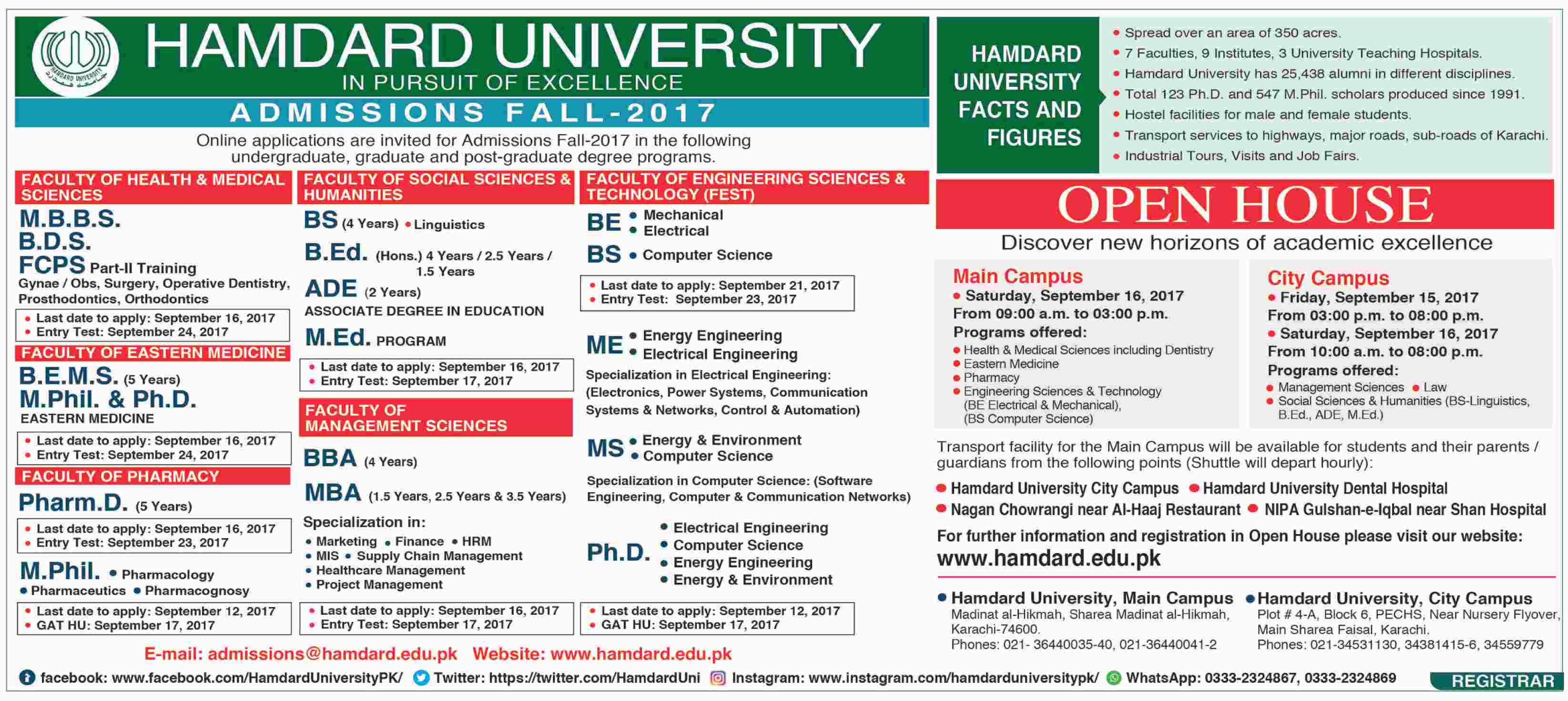 Hamdard University Karachi Admissions 2017
