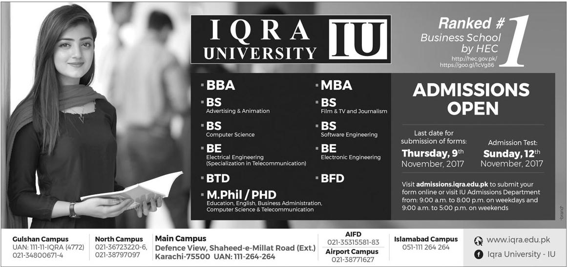 IQRA University Karachi Admissions 2017