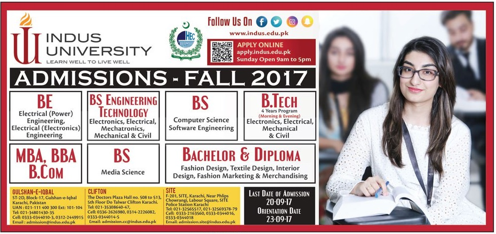 Indus University Karachi Admissions Fall 2017 Form Online Apply, Test Date