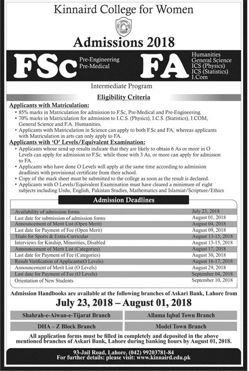 Kinnaird College Lahore 1st Year Admission 2018 FSc, FA, ICS, ICom