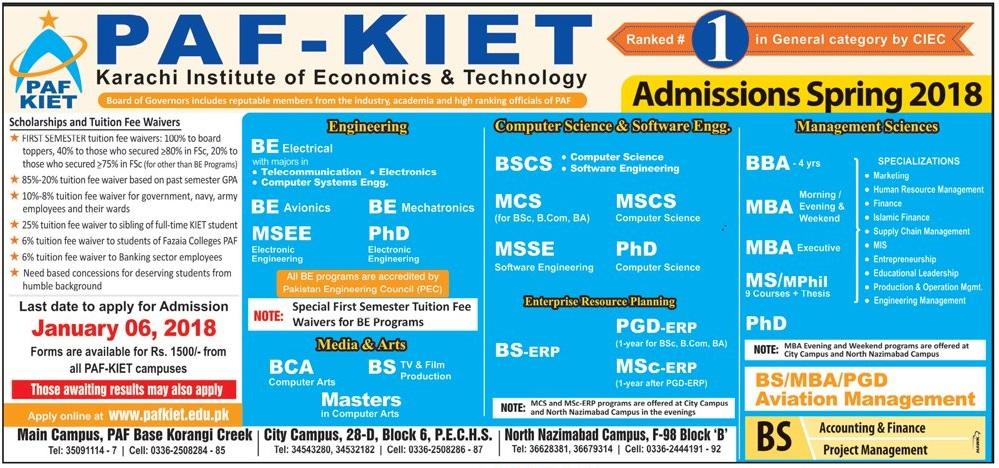 PAF KIET Admissions 2018 Karachi Institute of Economics & Technology