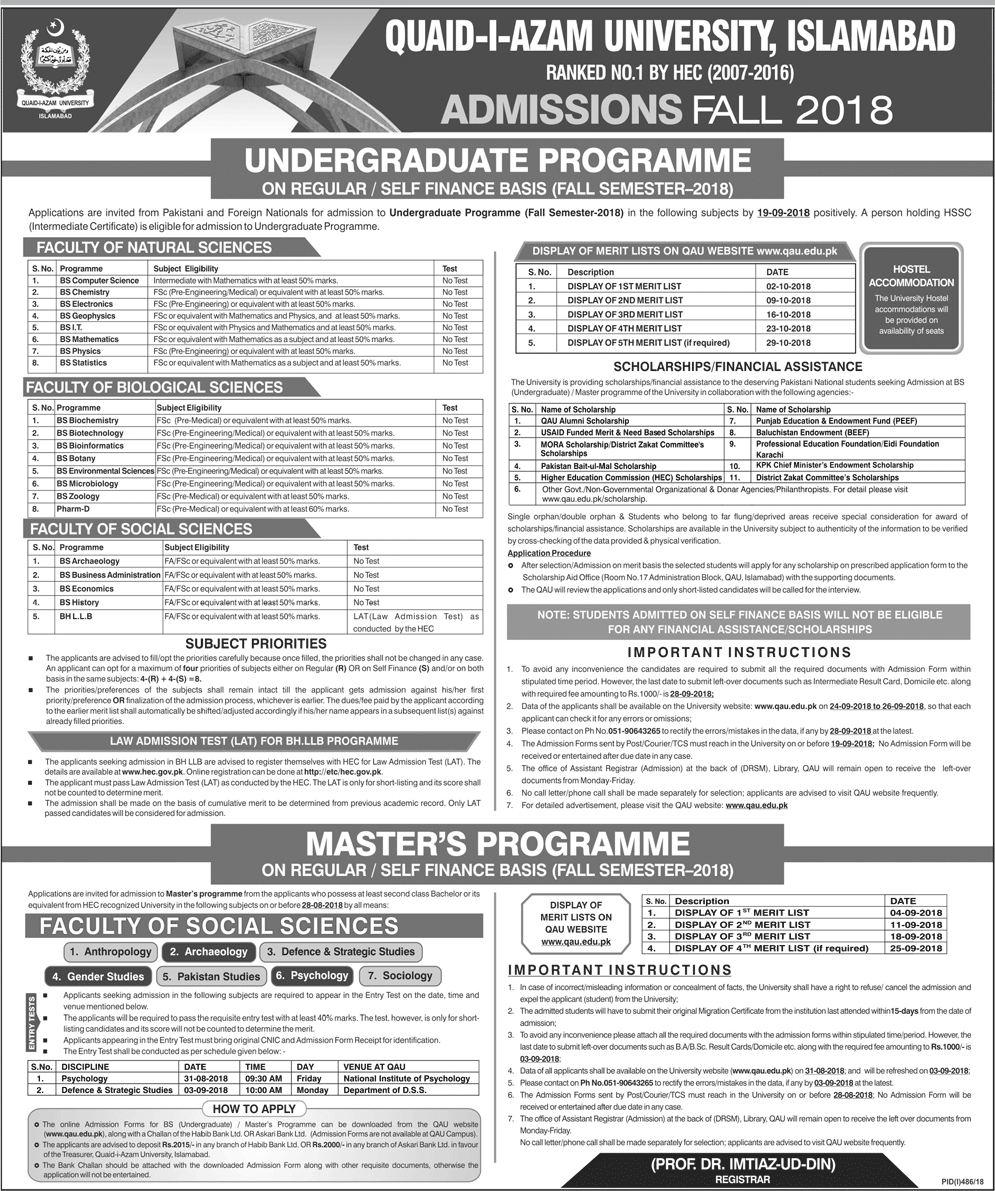 Quaid-e-Azam University Islamabad Admissions Fall 2018