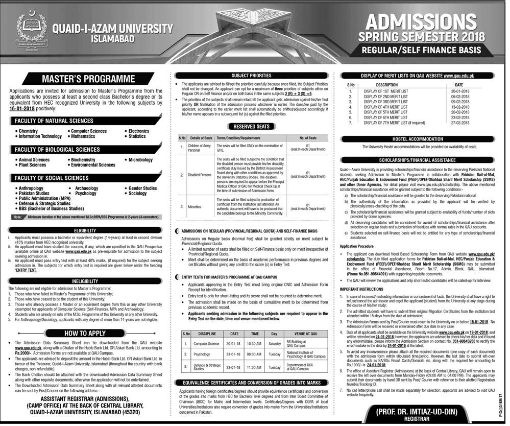 Quaid i Azam University Islamabad Admission 2018, Spring Semester