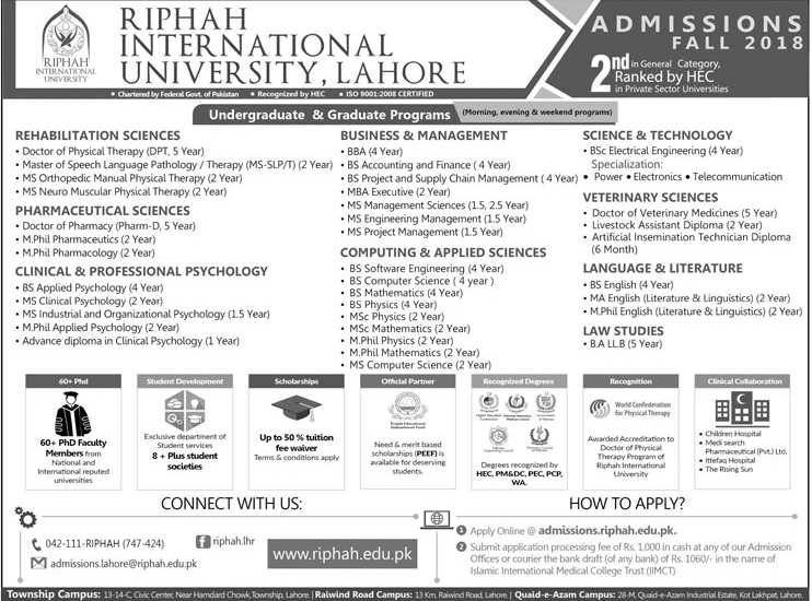 Riphah International University Admissions Fall 2018 Apply Online Last Date