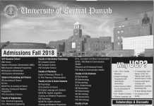 UCP Lahore Admissions Fall 2018 Last Date, Form