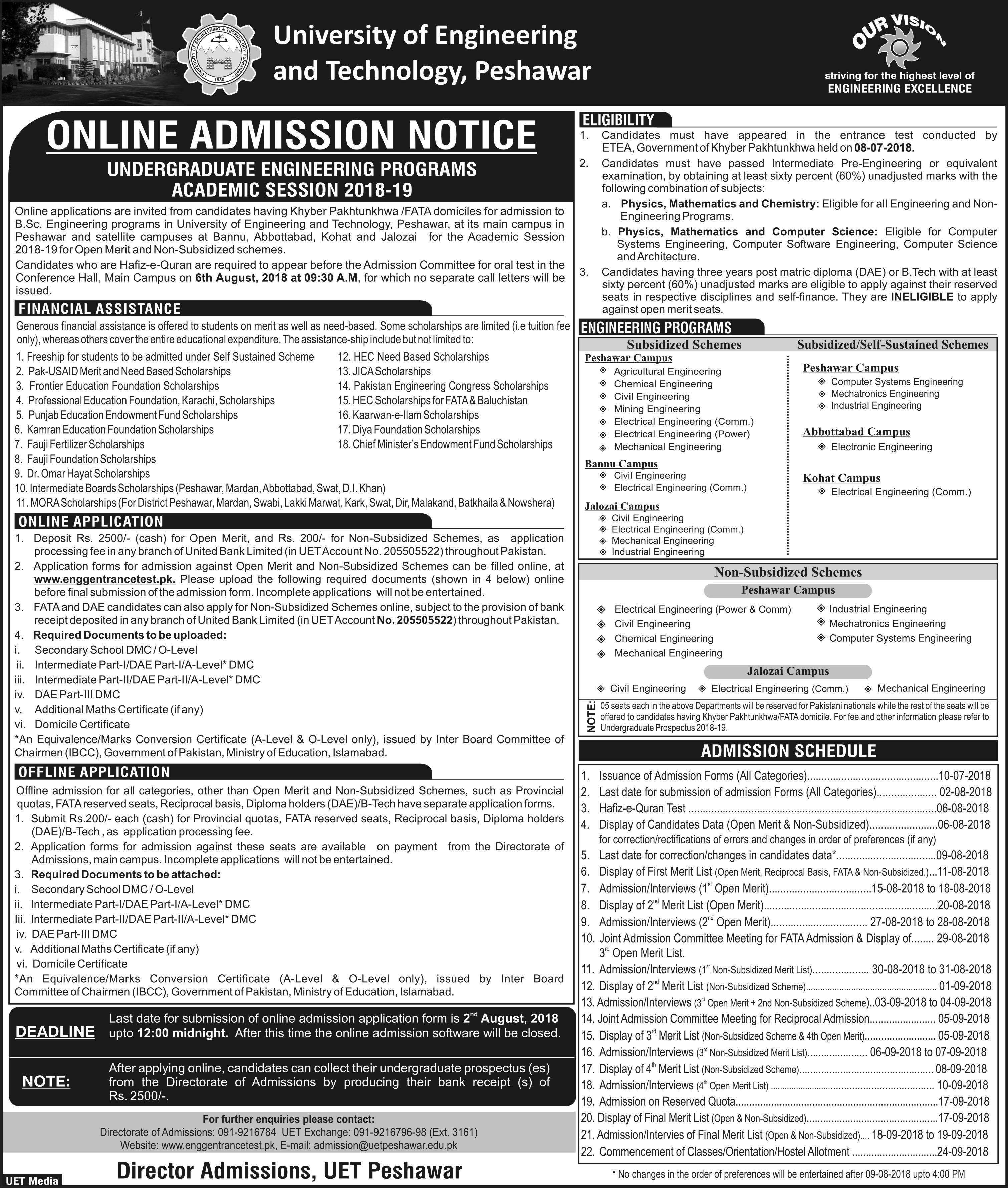 UET Peshawar Undergraduate Admission 2018