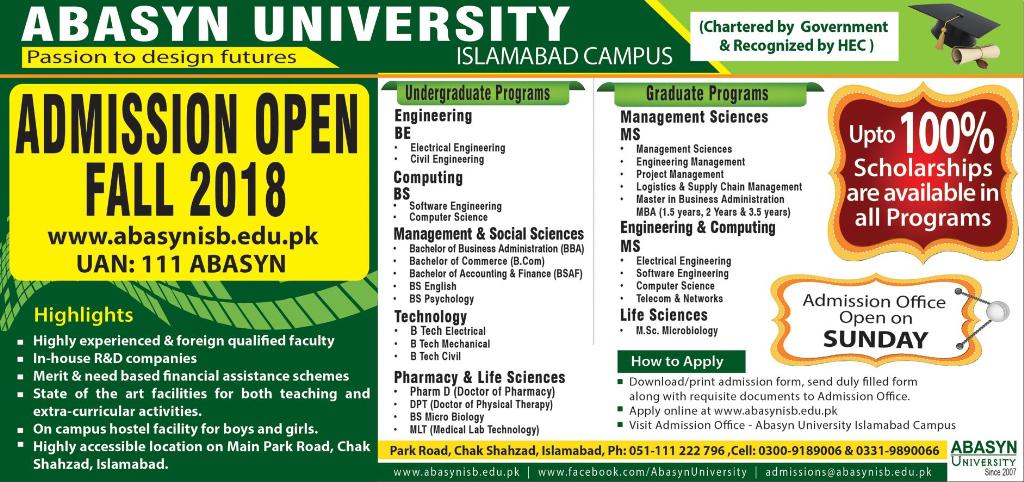 Abasyn University Islamabad Admission 2018 Form Online Apply, Test Date
