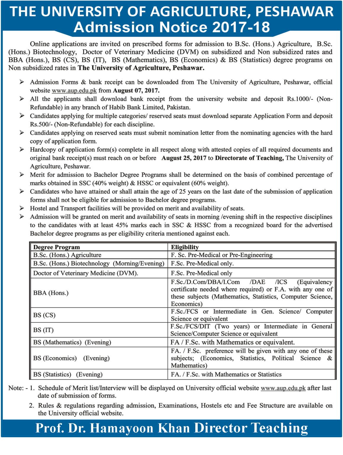 Agriculture University Peshawar Admission 2017 Form, Last Date