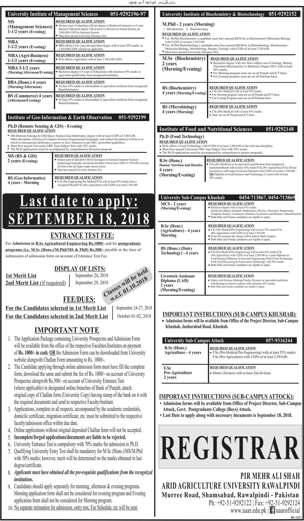 Arid Agriculture University Rawalpindi Admission Fall 2018 Last Date