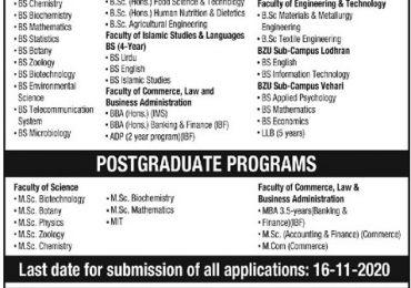 BZU Multan Undergraduate Admissions 2021 Form, Last Date