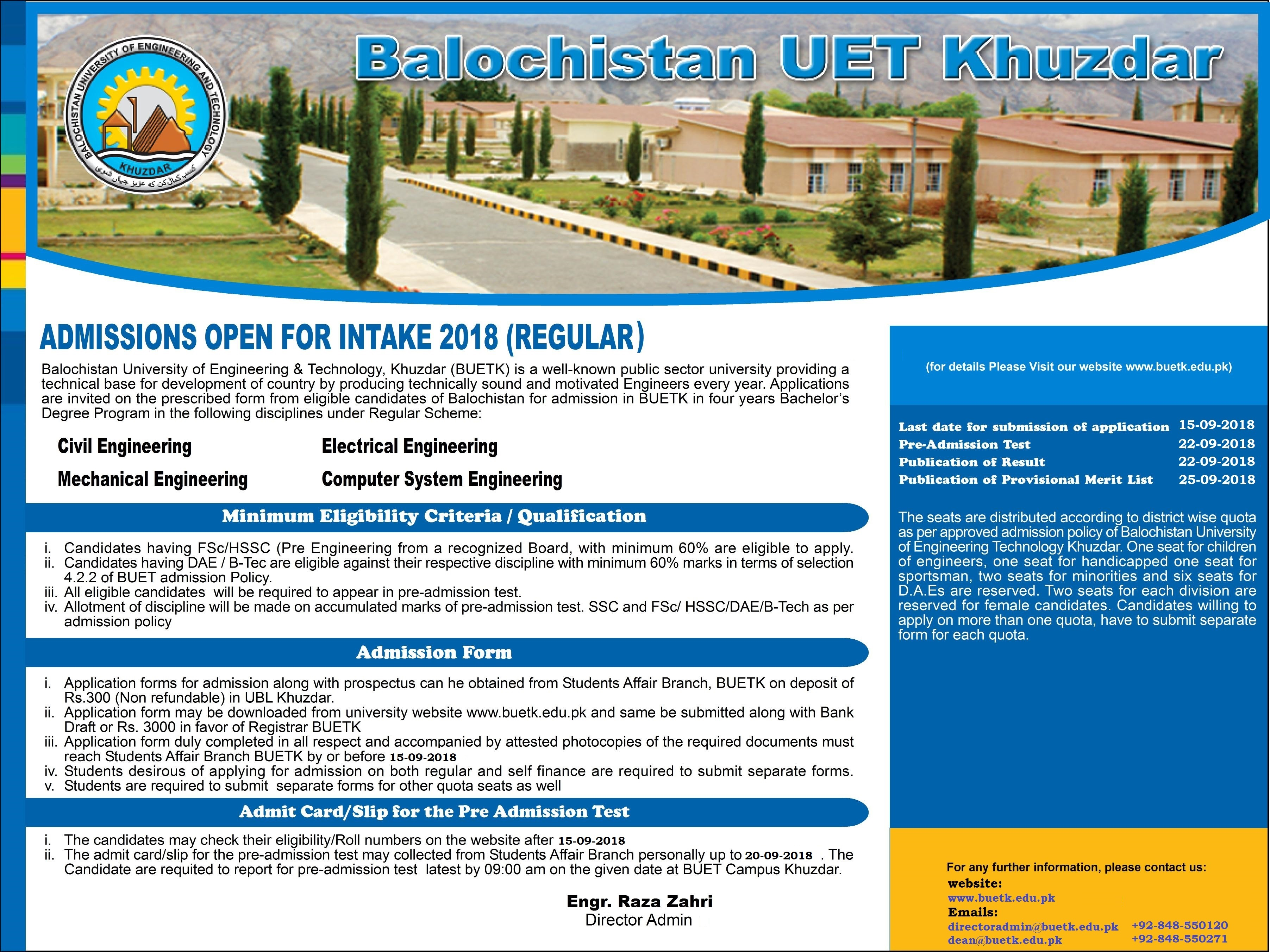 Balochistan University of Engineering BUET Khuzdar Admission 2018