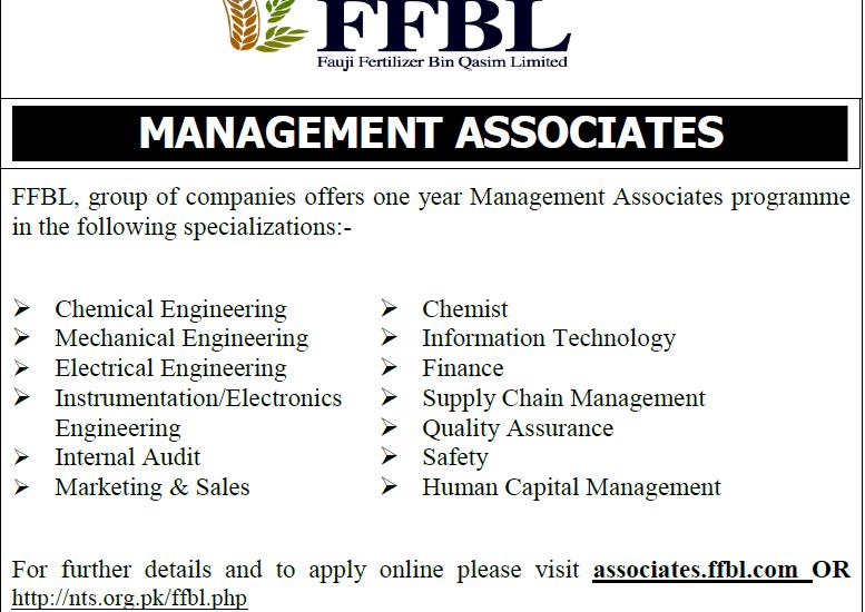 FFBL Management Associates Jobs 2017 Fauji Fertilizer Bin