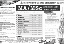 GC University Lahore MA/MSc Admission 2018