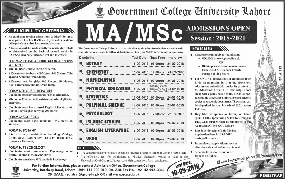 GC University Lahore MA/MSc Admission 2018