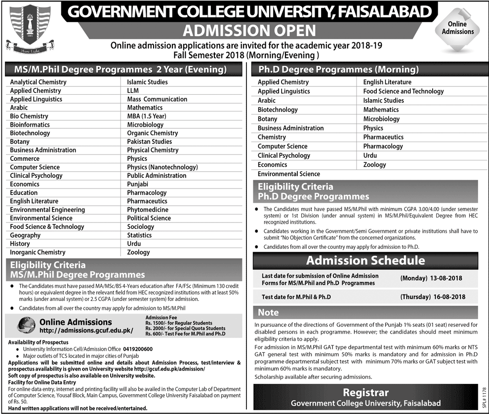 GCU Faisalabad MS, M.Phil and PhD Admission 2018