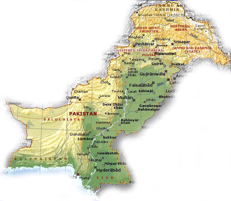 General Knowledge About Pakistan in Urdu Map